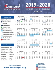 2019-2020 Austin District School Calendar